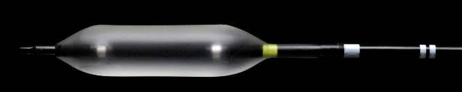 Fig.1: Balloon 6x16, estremità distale con markers radiopachi e di orientamento